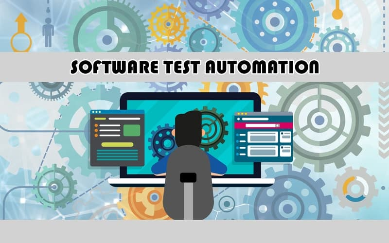 The text in the image reads 'Software Test Automation'. There is a depiction of a person working on a laptop with the monitor showing image of two gears meshing with each other, illustrating that the person is using a software automation tool. There are images of two application windows popping out of the screen depicting the frameworks used in software test automation.